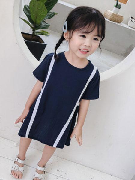 nice童品童装童装品牌2019春夏韩版麻棉连衣裙短袖宽松