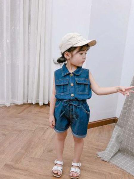 nice童品童装童装品牌2019春夏牛仔套装无袖牛仔衬衣短裤两件套潮