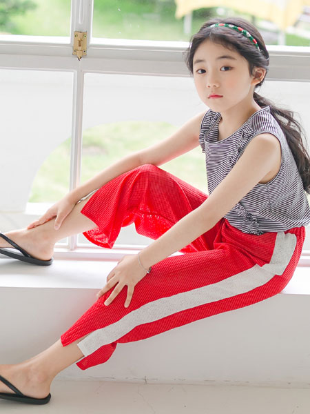 唯心至爱童装品牌2019春夏条纹上衣休闲裤
