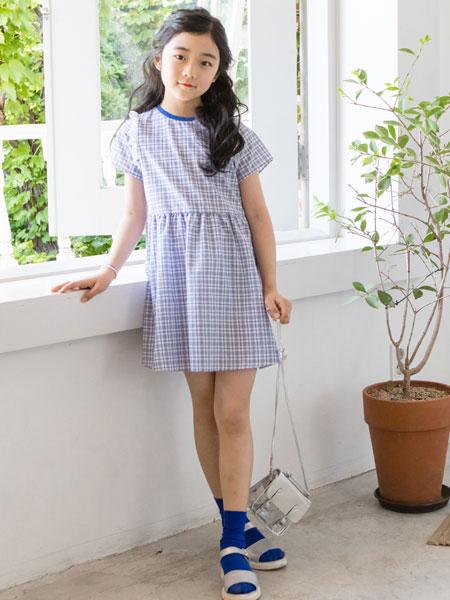 唯心至爱童装品牌2019春夏格子连衣裙
