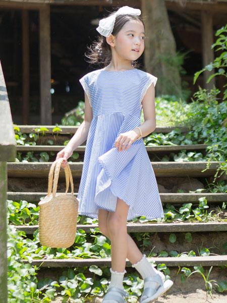 唯心至爱童装品牌2019春夏条纹连衣裙