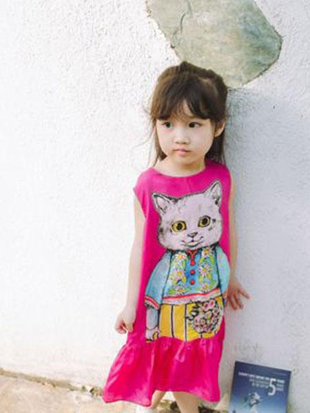 同宣童装品牌2019春夏无袖连衣裙