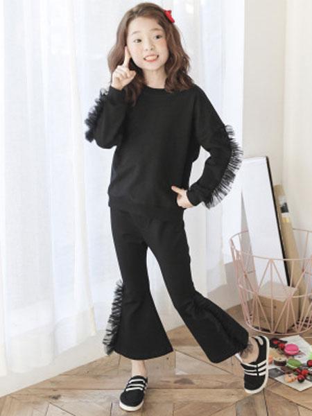 迪菲奥童装品牌2019春夏喇叭裤两件套女童纯色长袖