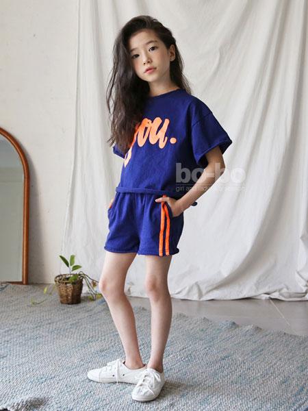 迪菲奥童装品牌2019春夏个性字母印花运动宽松休闲套装