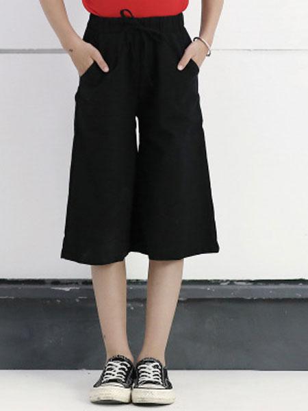 迪菲奥童装品牌2019春夏宽松竖条纹阔腿裤