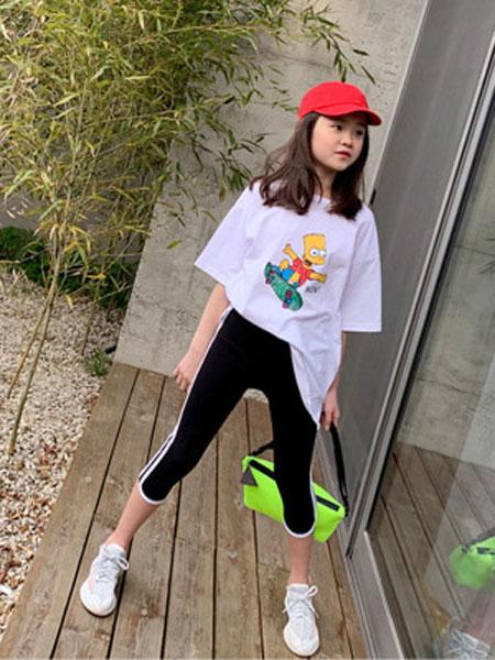 迪菲奥童装品牌2019春夏宽松落肩袖卡通T恤潮牌运动T恤套装