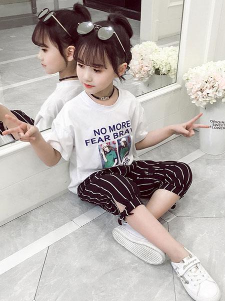 韩宸童装品牌2019春夏条纹裤中大童短袖t恤套装
