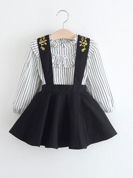 澜苏贝贝童装品牌2019春夏竖条纹长袖衬衫+刺绣背带裙两件套