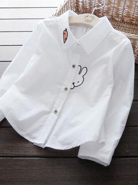 澜苏贝贝童装品牌2019春夏2色入萝卜小兔刺绣条纹衬衫上衣