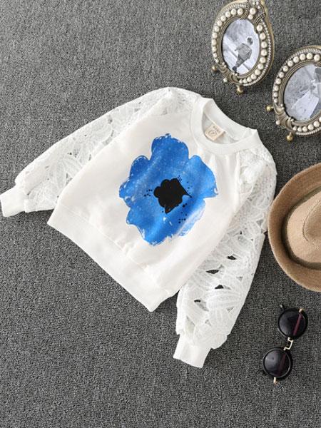 澜苏贝贝童装品牌2019春夏印花镂空卫衣+不规则网纱裙裤两件套
