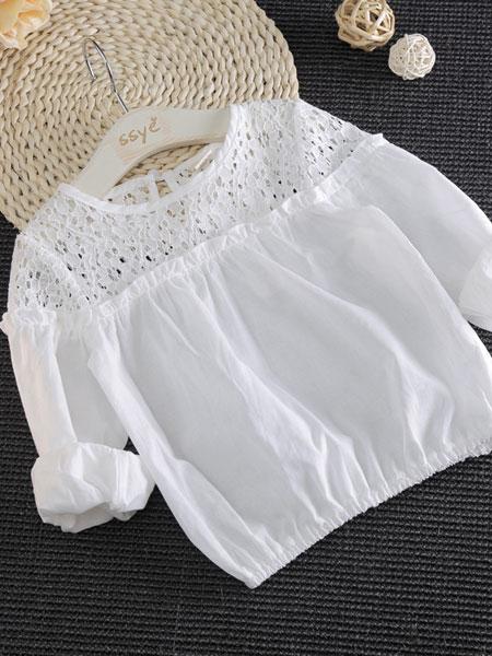 澜苏贝贝童装品牌2019春夏圆领长袖T恤镂空拼接式泡泡袖衬衫