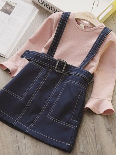 澜苏贝贝童装品牌2019春夏长袖T恤吊带裙衣服