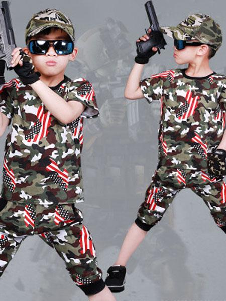 爱尔骏妮、小小树童装品牌2019春夏短袖中大童特种兵两件套一