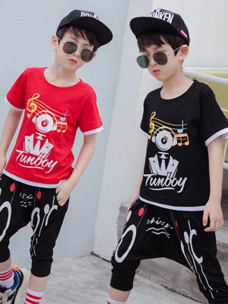 爱尔骏妮、小小树童装品牌2019春夏嘻哈街舞洋气纯棉运动韩版两件套