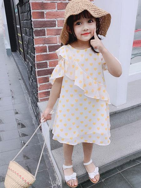 如愿童话童装品牌2019春夏超洋气爱心吊带荷叶边花裙子
