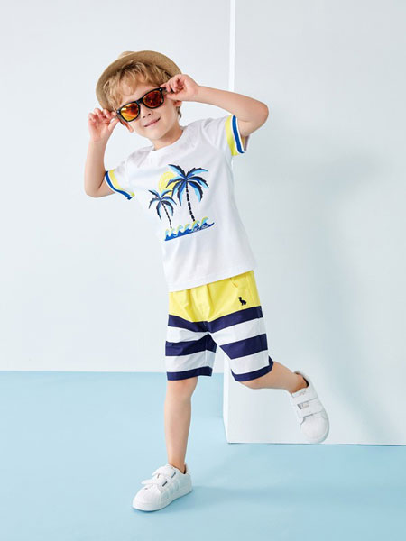 T100童装品牌2019春夏圆领海边度假套装
