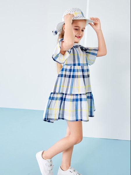 T100童装品牌2019春夏格子洋气连衣裙