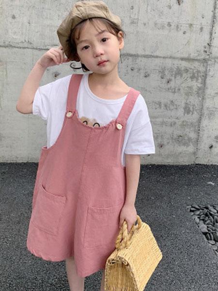 米多家M do+童装品牌2019春夏纯色口袋背带裤休闲裤子长裤