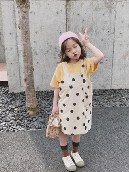 米多家M do+童装品牌2019春夏时尚圆点休闲背带裤