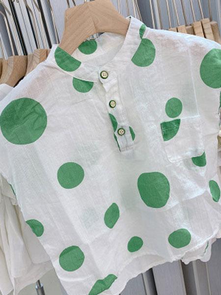 米多家M do+童装品牌2019春夏绿色波点时尚圆领衬衫