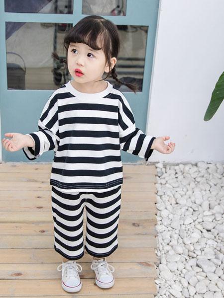 马李童装品牌2019春夏条纹T恤阔腿裤套装