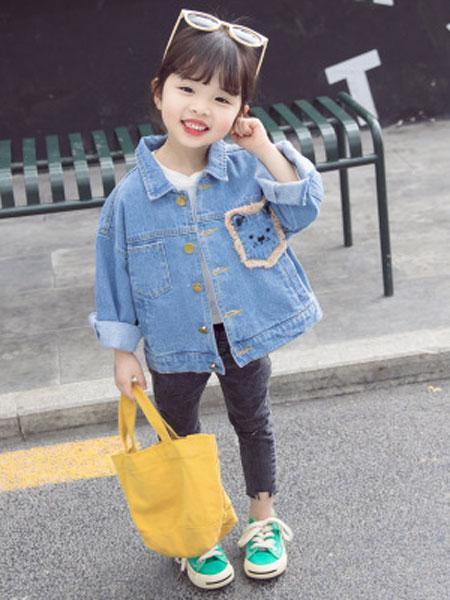 马李童装品牌2019春夏狮子头牛仔外套