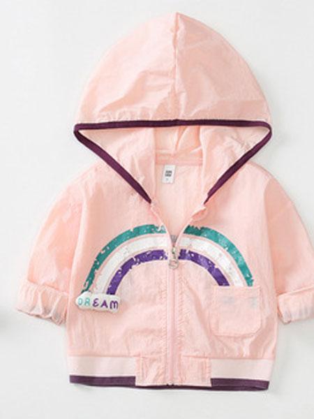 麦提爽童装品牌2019春夏中性童外套开衫纯色短款长袖连帽防晒衣