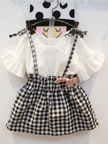 亲仔纺童装品牌2019春夏喇叭袖短袖T恤格子背带裙子两件套