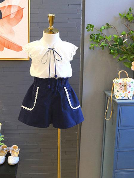 亲仔纺童装品牌2019春夏无袖上衣洋气女孩高腰短裤