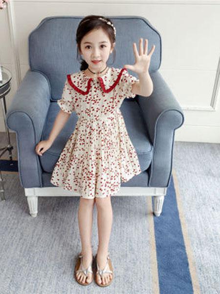 亲仔纺童装品牌2019春夏洋气荷叶边娃娃领撞色爱心公主裙