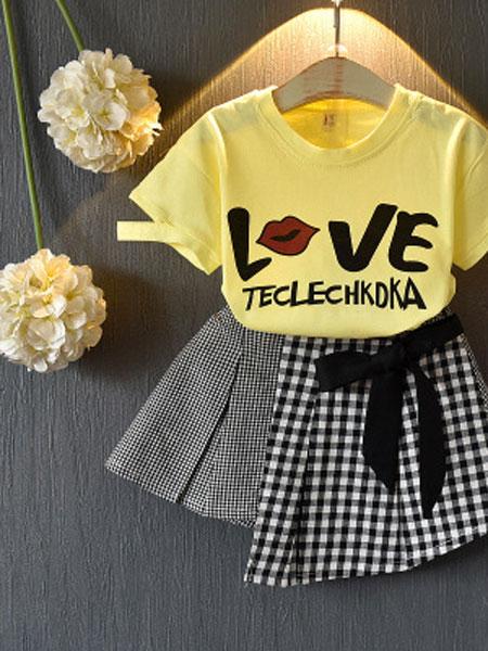 亲仔纺童装品牌2019春夏时尚公主套裙短袖儿童两件套