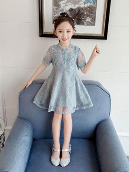 亲仔纺童装品牌2019春夏洋气蕾丝短袖公主裙