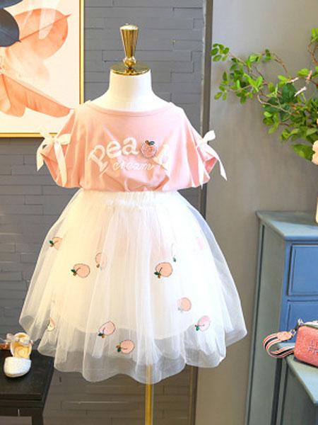 亲仔纺童装品牌2019春夏洋气T恤上衣+网纱半身短裙两件套