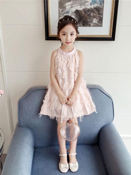 亲仔纺童装品牌2019春夏圆领吊带公主裙
