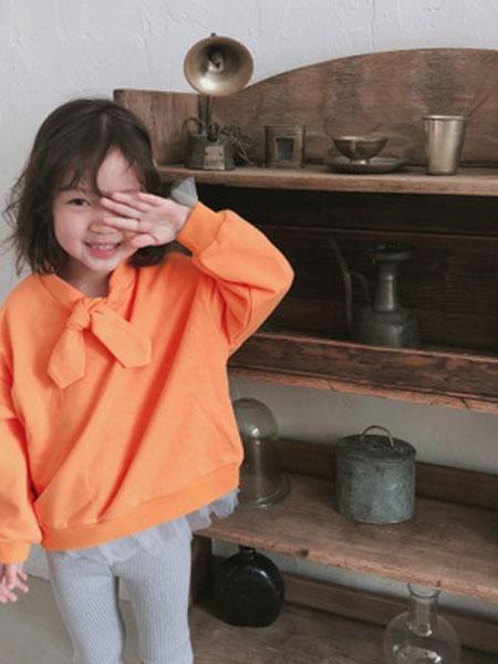 番茄土豆童装品牌2019春夏卫衣韩版棉蝴蝶结圆领套头长袖宽松