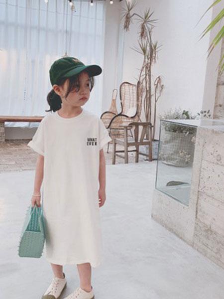 番茄土豆童装品牌2019春夏字母印花T恤裙