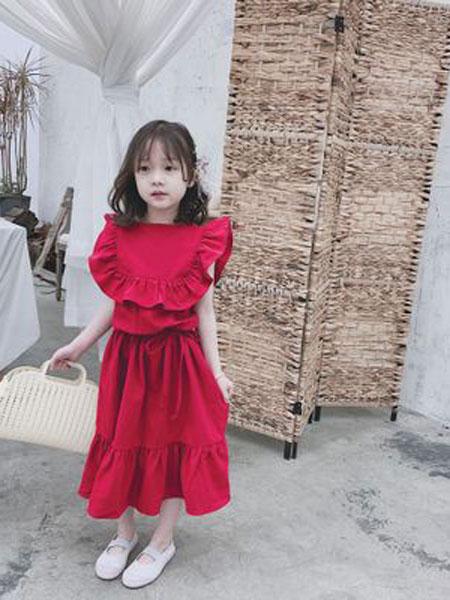 番茄土豆童装品牌2019春夏棉连衣裙宝宝红色假两件荷叶边长款裙子