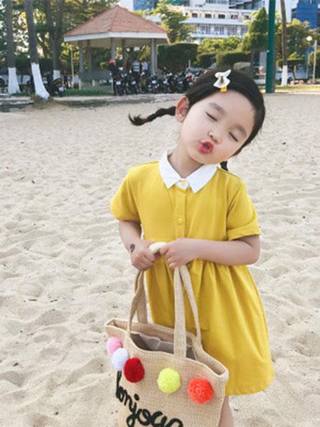 番茄土豆童装品牌2019春夏高腰娃娃裙女宝宽松纯色短袖翻领连衣裙
