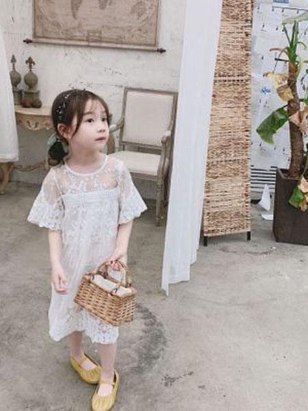 番茄土豆童装品牌2019春夏短袖蕾丝连衣裙