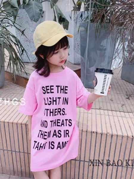 两小无猜童装品牌2019春夏中长款套头字母T恤
