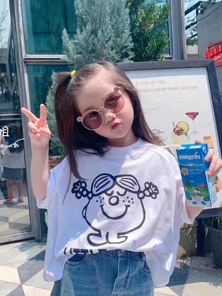 两小无猜童装品牌2019春夏套头短袖卡通T恤衫