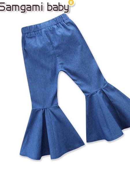 SAMGAMI BABY童装品牌2019春夏撞色款喇叭牛仔裤