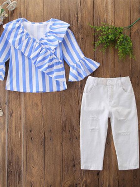 SAMGAMI BABY童装品牌2019春夏条纹喇叭袖衬衫+破洞裤