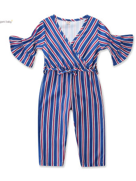 SAMGAMI BABY童装品牌2019春夏条纹V领连体裤