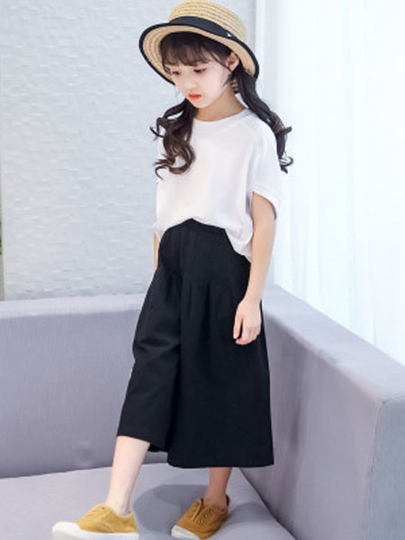东诺童装品牌2019春夏女童阔腿裤套装