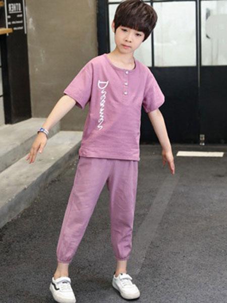 东诺童装品牌2019春夏韩版字母印花棉麻儿童短袖套装