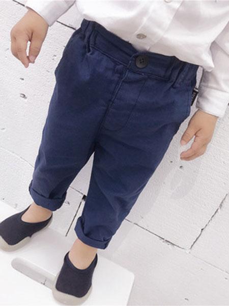 沈土土童装品牌2019春夏纯棉裤子小脚裤西装裤长裤