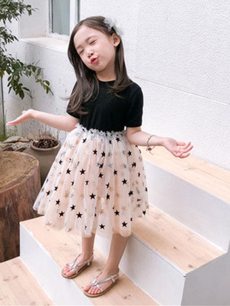 沈土土童装品牌2019春夏亮片礼服裙短袖连衣裙