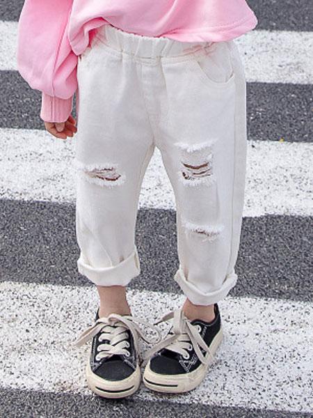 盛盛童装品牌2019春夏韩版纯色牛仔长裤