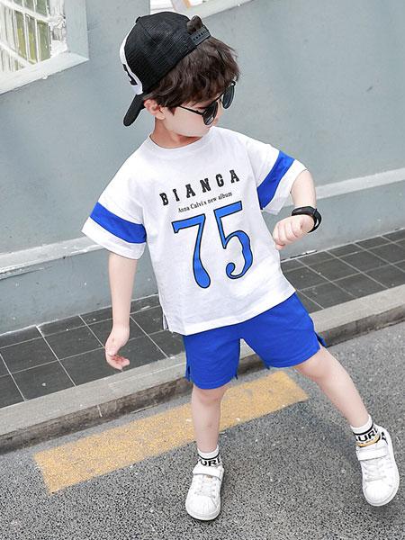 盛盛童装品牌2019春夏运动套装韩版休闲中小童短袖T恤短裤两件套